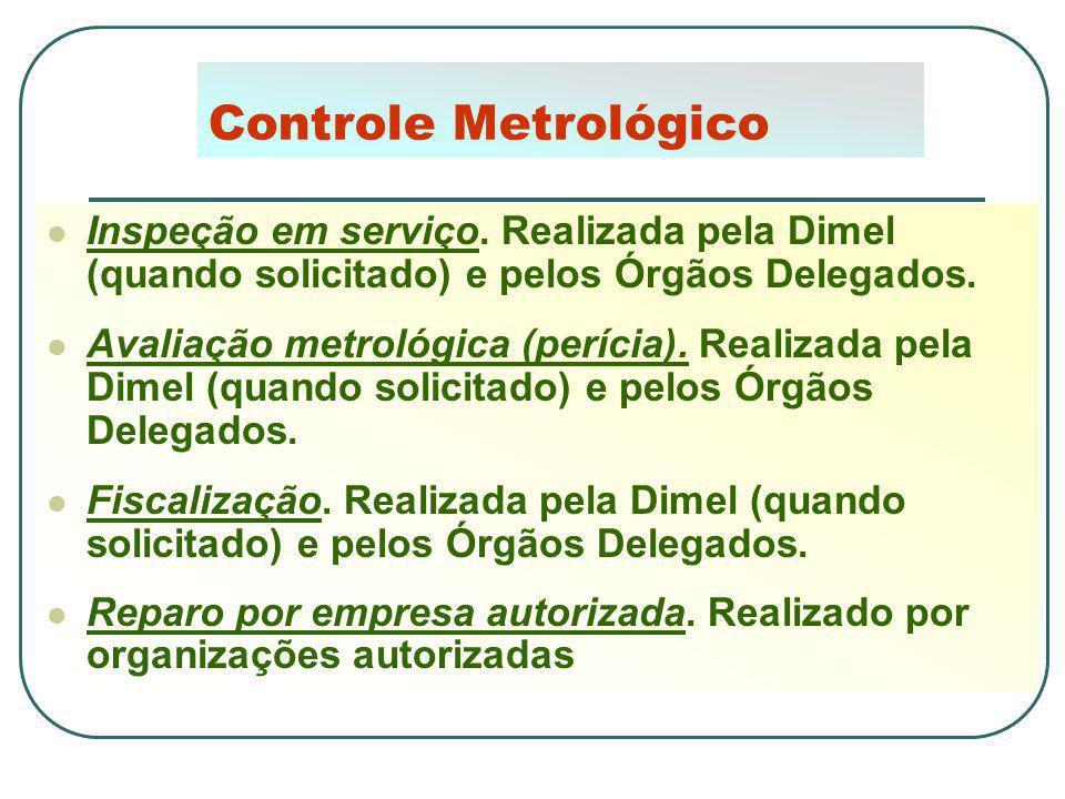 Controle Metrológico Inspeção em serviço. Realizada pela Dimel (quando solicitado) e pelos Órgãos Delegados. Avaliação metrológica (perícia). Realizad