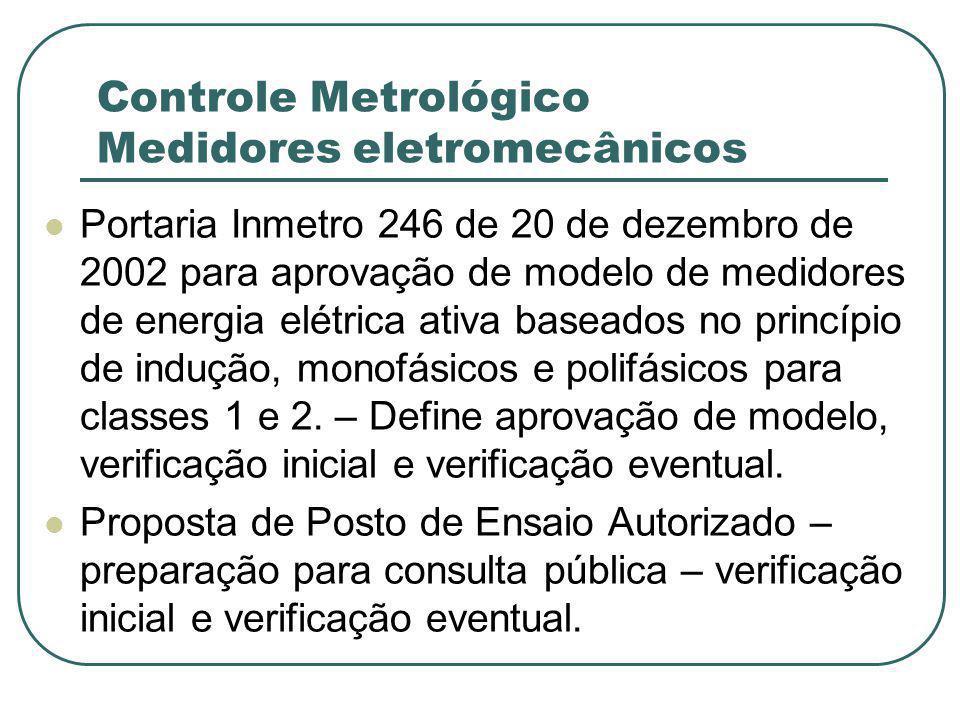 Controle Metrológico Medidores eletromecânicos Portaria Inmetro 246 de 20 de dezembro de 2002 para aprovação de modelo de medidores de energia elétrica ativa baseados no princípio de indução, monofásicos e polifásicos para classes 1 e 2.