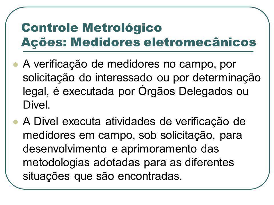 Controle Metrológico Ações: Medidores eletromecânicos A verificação de medidores no campo, por solicitação do interessado ou por determinação legal, é