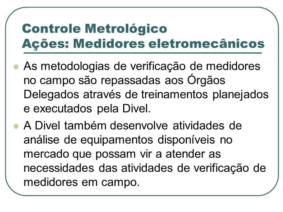 Controle Metrológico Ações: Medidores eletromecânicos As metodologias de verificação de medidores no campo são repassadas aos Órgãos Delegados através de treinamentos planejados e executados pela Divel.