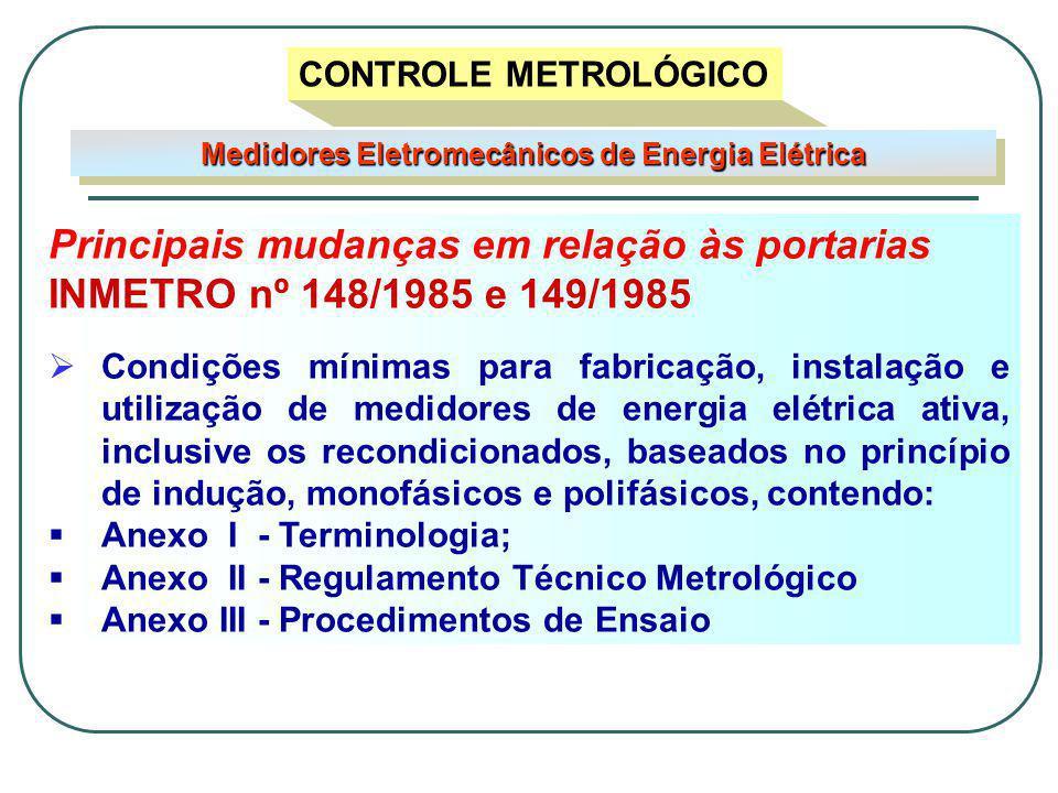 Principais mudanças em relação às portarias INMETRO nº 148/1985 e 149/1985  Condições mínimas para fabricação, instalação e utilização de medidores de energia elétrica ativa, inclusive os recondicionados, baseados no princípio de indução, monofásicos e polifásicos, contendo:  Anexo I - Terminologia;  Anexo II - Regulamento Técnico Metrológico  Anexo III - Procedimentos de Ensaio Medidores Eletromecânicos de Energia Elétrica CONTROLE METROLÓGICO