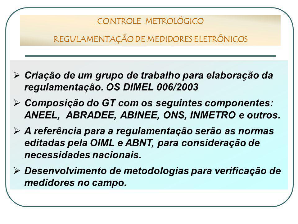  Criação de um grupo de trabalho para elaboração da regulamentação. OS DIMEL 006/2003  Composição do GT com os seguintes componentes: ANEEL, ABRADEE