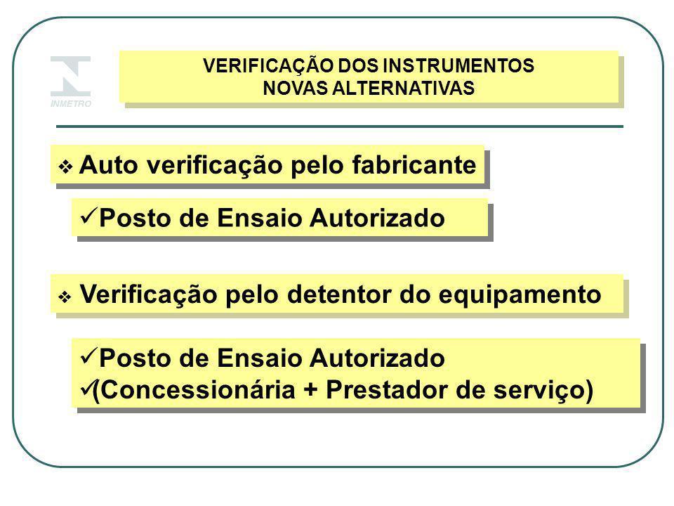VERIFICAÇÃO DOS INSTRUMENTOS NOVAS ALTERNATIVAS VERIFICAÇÃO DOS INSTRUMENTOS NOVAS ALTERNATIVAS  Auto verificação pelo fabricante  Verificação pelo detentor do equipamento Posto de Ensaio Autorizado (Concessionária + Prestador de serviço) Posto de Ensaio Autorizado (Concessionária + Prestador de serviço)