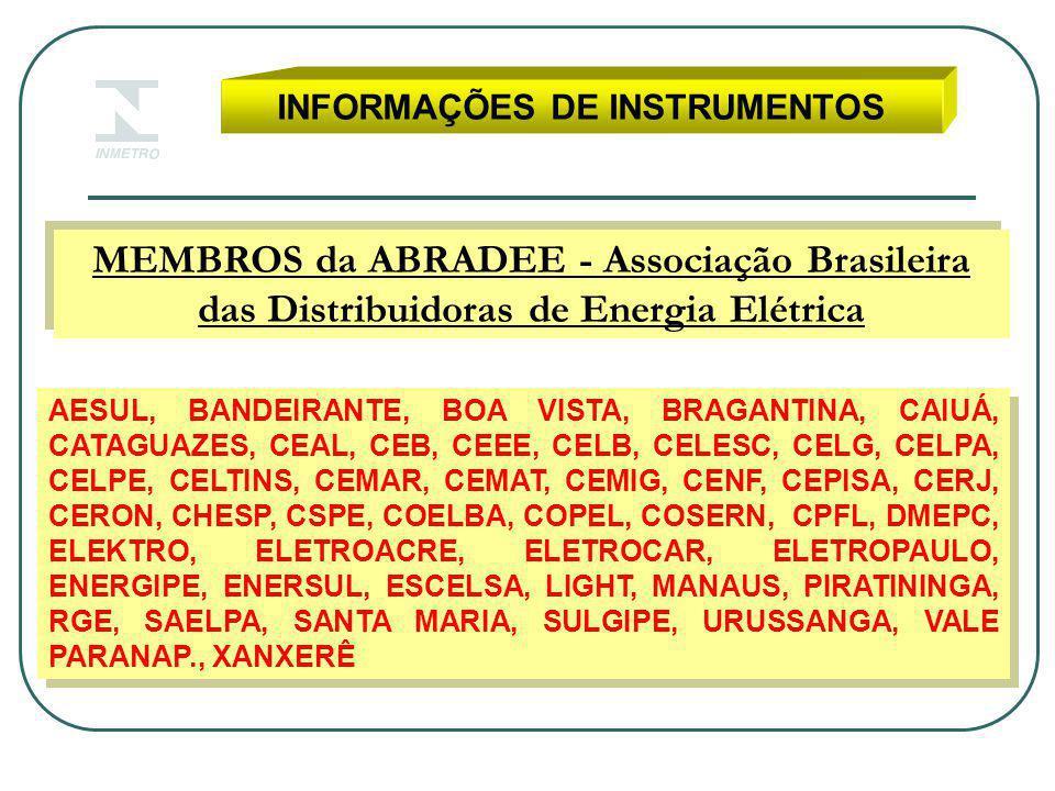 INFORMAÇÕES DE INSTRUMENTOS MEMBROS da ABRADEE - Associação Brasileira das Distribuidoras de Energia Elétrica AESUL, BANDEIRANTE, BOA VISTA, BRAGANTINA, CAIUÁ, CATAGUAZES, CEAL, CEB, CEEE, CELB, CELESC, CELG, CELPA, CELPE, CELTINS, CEMAR, CEMAT, CEMIG, CENF, CEPISA, CERJ, CERON, CHESP, CSPE, COELBA, COPEL, COSERN, CPFL, DMEPC, ELEKTRO, ELETROACRE, ELETROCAR, ELETROPAULO, ENERGIPE, ENERSUL, ESCELSA, LIGHT, MANAUS, PIRATININGA, RGE, SAELPA, SANTA MARIA, SULGIPE, URUSSANGA, VALE PARANAP., XANXERÊ