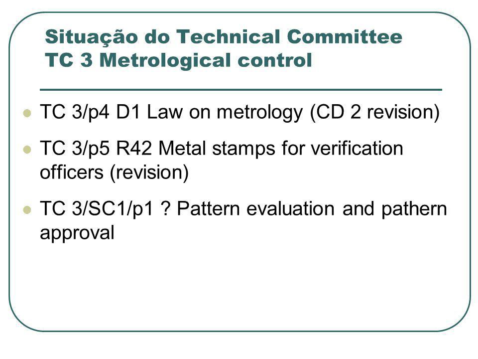 Situação do Technical Committee TC 3 Metrological control TC 3/p4 D1 Law on metrology (CD 2 revision) TC 3/p5 R42 Metal stamps for verification office