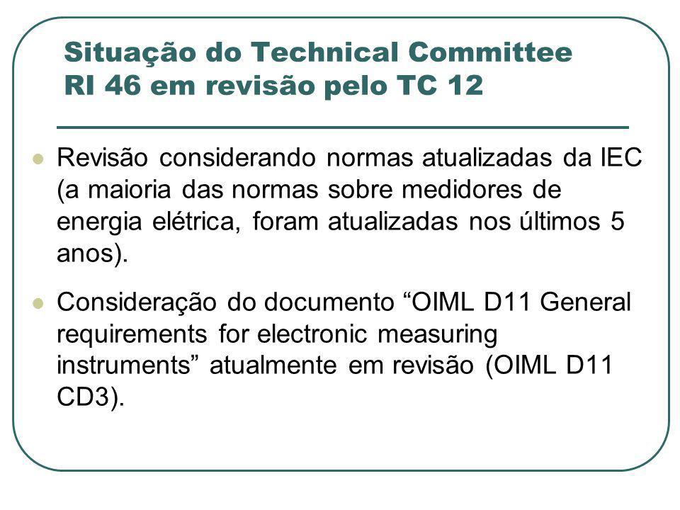 Situação do Technical Committee RI 46 em revisão pelo TC 12 Revisão considerando normas atualizadas da IEC (a maioria das normas sobre medidores de energia elétrica, foram atualizadas nos últimos 5 anos).