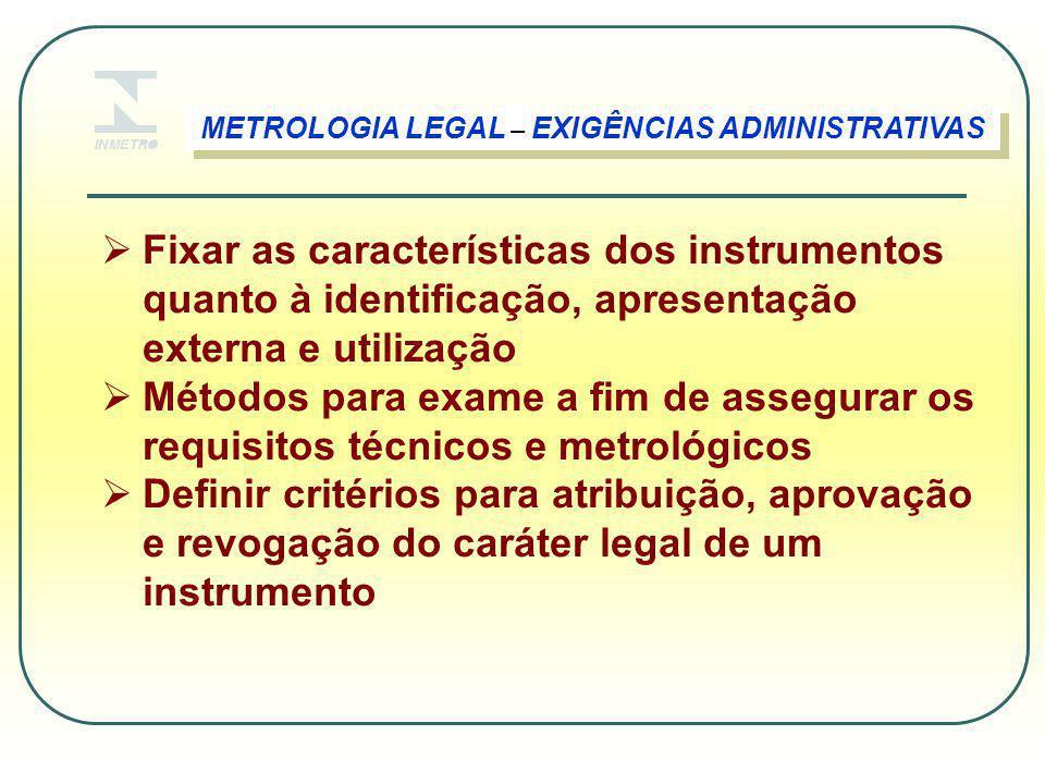  Fixar as características dos instrumentos quanto à identificação, apresentação externa e utilização  Métodos para exame a fim de assegurar os requi