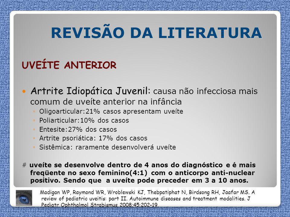 REVISÃO DA LITERATURA UVEÍTE ANTERIOR Artrite Idiopática Juvenil: causa não infecciosa mais comum de uveíte anterior na infância ◦Oligoarticular:21% c