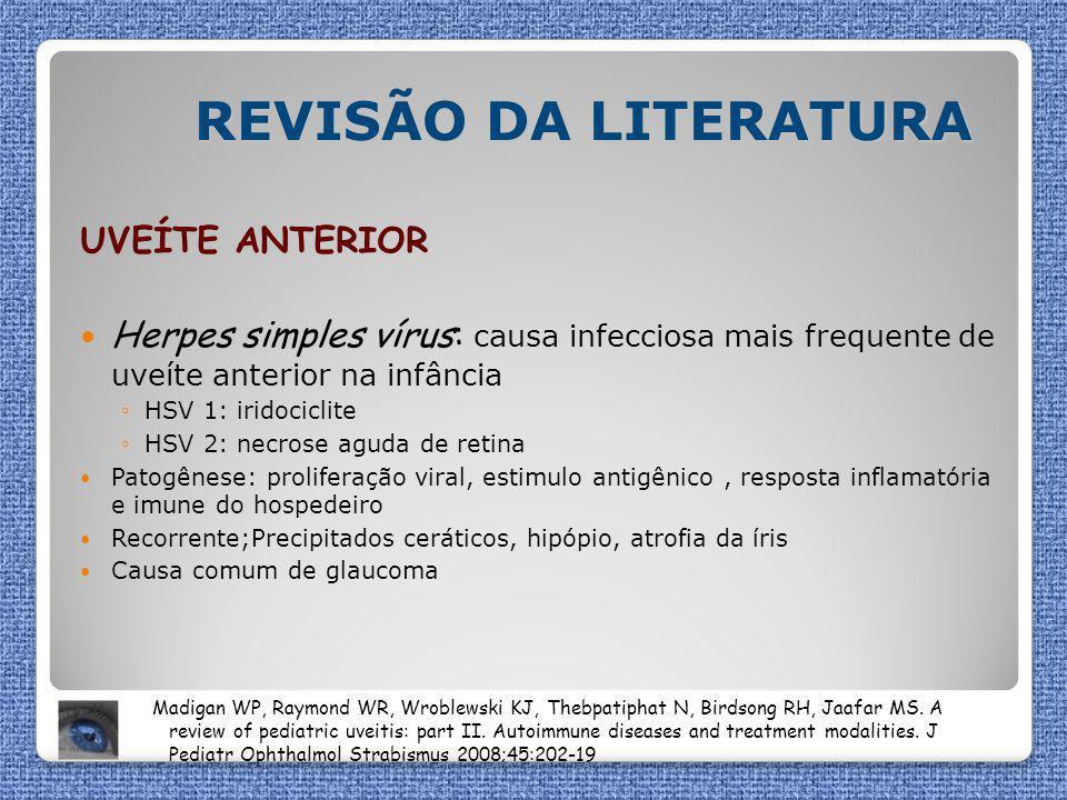 REVISÃO DA LITERATURA UVEÍTE ANTERIOR Herpes simples vírus: causa infecciosa mais frequente de uveíte anterior na infância ◦HSV 1: iridociclite ◦HSV 2