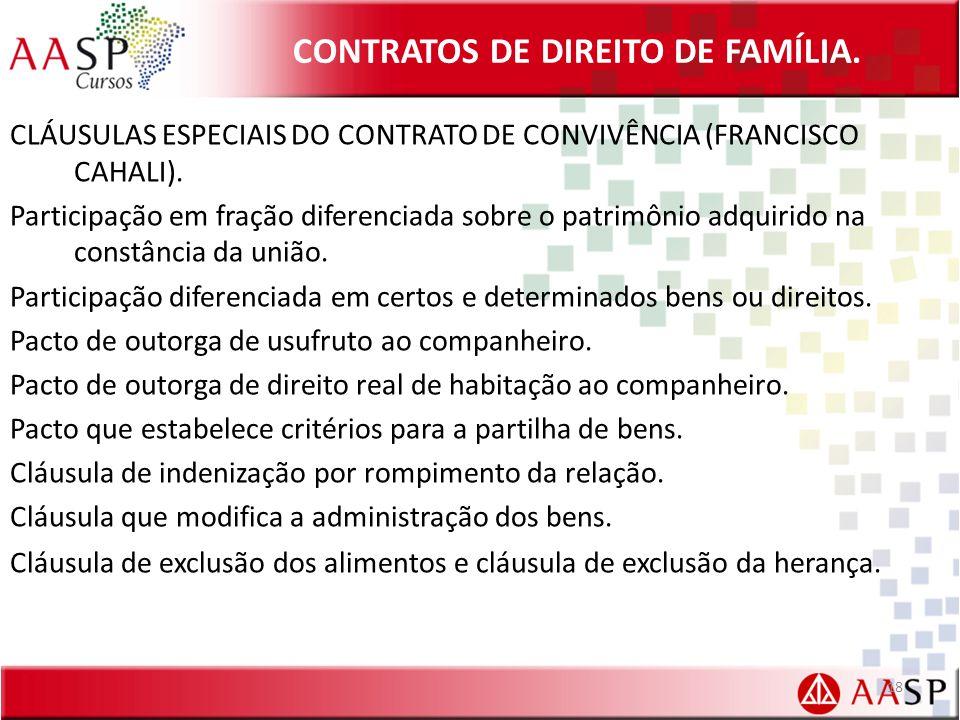 CONTRATOS DE DIREITO DE FAMÍLIA. CLÁUSULAS ESPECIAIS DO CONTRATO DE CONVIVÊNCIA (FRANCISCO CAHALI). Participação em fração diferenciada sobre o patrim