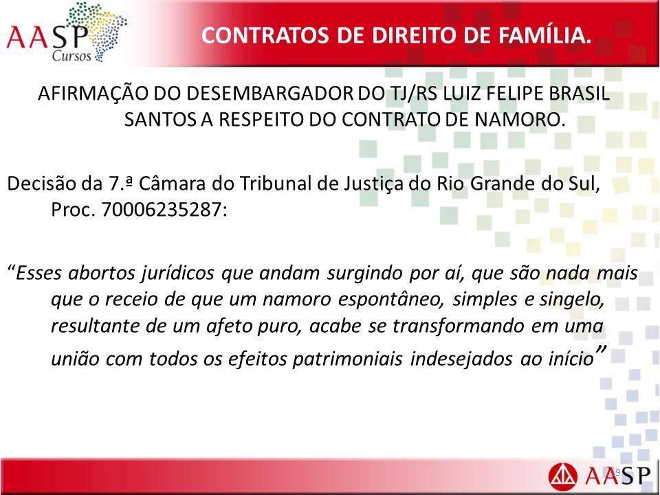 CONTRATOS DE DIREITO DE FAMÍLIA. AFIRMAÇÃO DO DESEMBARGADOR DO TJ/RS LUIZ FELIPE BRASIL SANTOS A RESPEITO DO CONTRATO DE NAMORO. Decisão da 7.ª Câmara