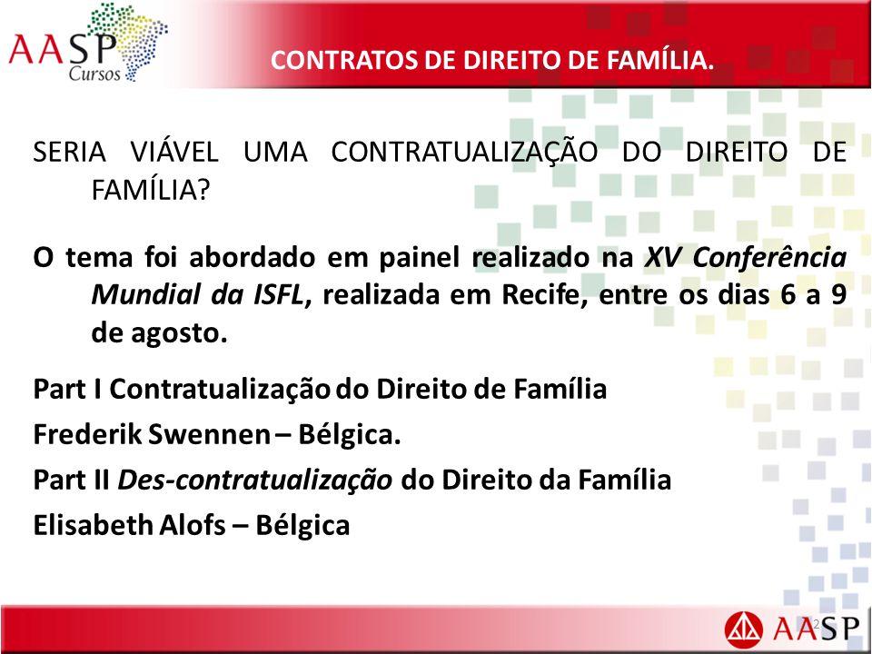 CONTRATOS DE DIREITO DE FAMÍLIA.