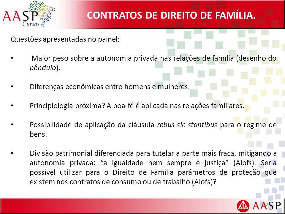 CONTRATOS DE DIREITO DE FAMÍLIA. Questões apresentadas no painel: Maior peso sobre a autonomia privada nas relações de família (desenho do pêndulo). D
