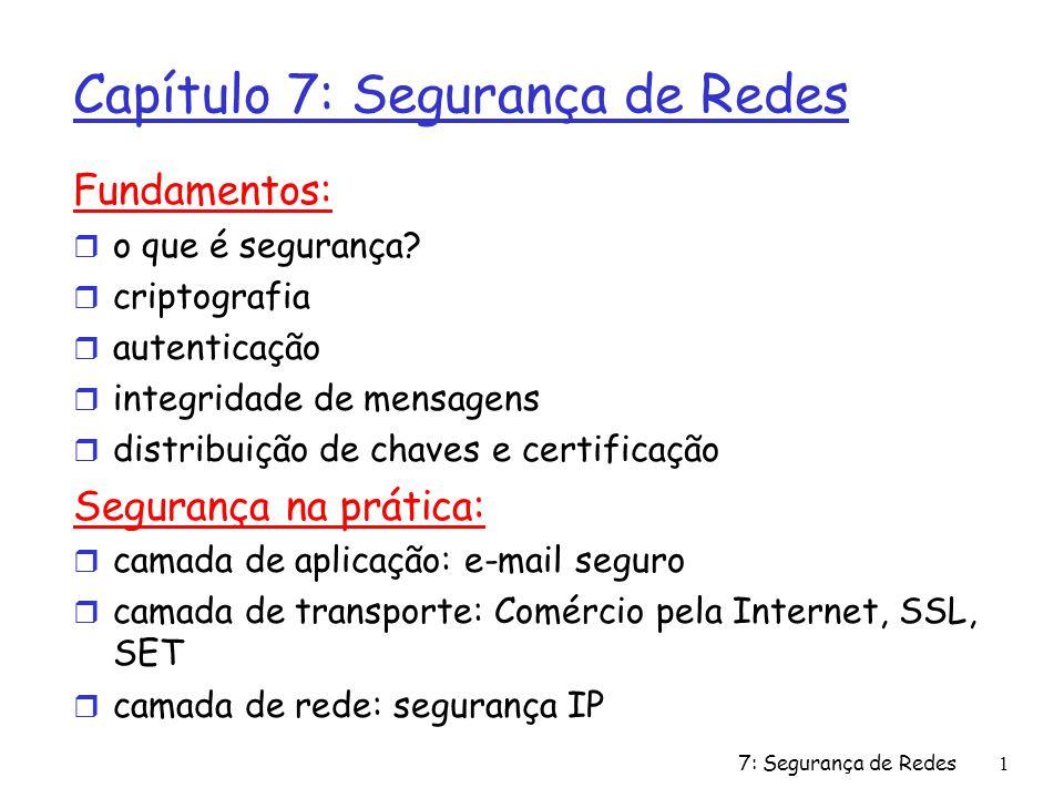 7: Segurança de Redes1 Capítulo 7: Segurança de Redes Fundamentos: r o que é segurança.