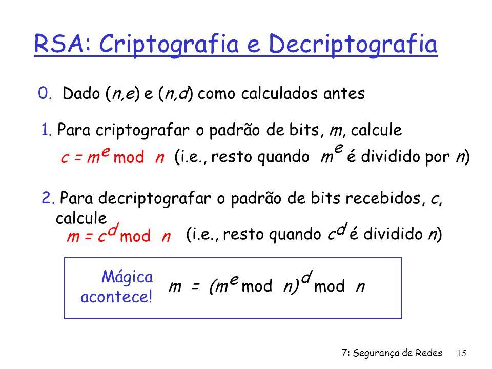 7: Segurança de Redes15 RSA: Criptografia e Decriptografia 0.