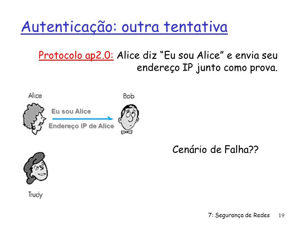7: Segurança de Redes19 Autenticação: outra tentativa Protocolo ap2.0: Alice diz Eu sou Alice e envia seu endereço IP junto como prova.
