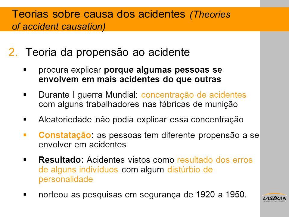 15 2.Teoria da propensão ao acidente  procura explicar porque algumas pessoas se envolvem em mais acidentes do que outras  Durante I guerra Mundial: