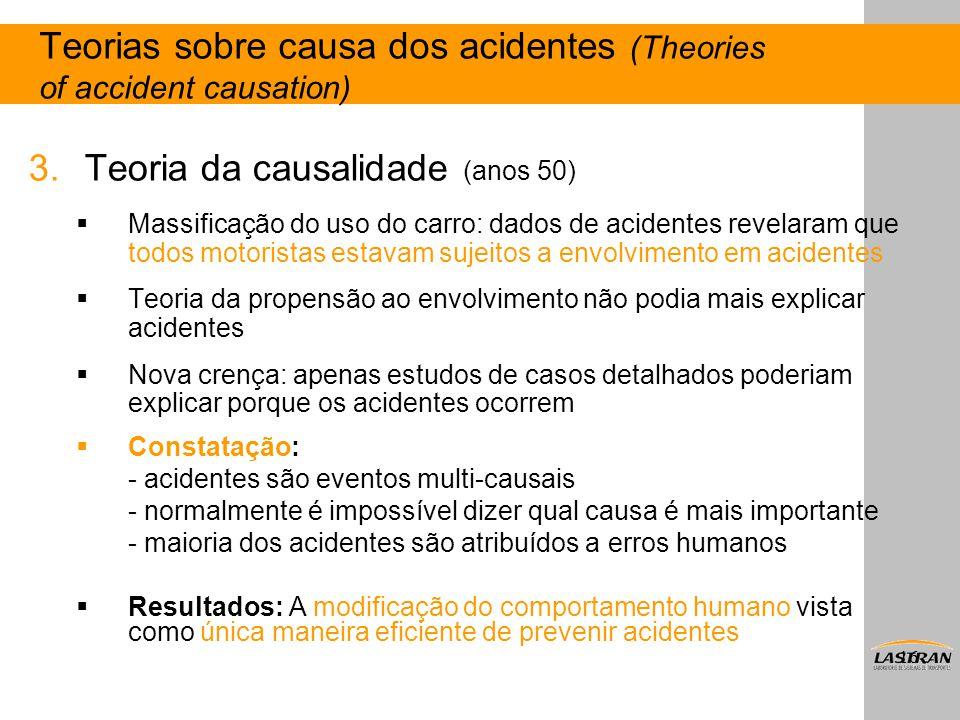 16 3.Teoria da causalidade (anos 50)  Massificação do uso do carro: dados de acidentes revelaram que todos motoristas estavam sujeitos a envolvimento