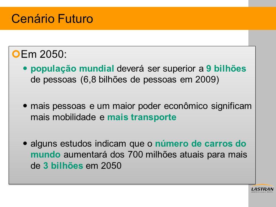 Cenário Futuro Em 2050: população mundial deverá ser superior a 9 bilhões de pessoas (6,8 bilhões de pessoas em 2009) mais pessoas e um maior poder ec