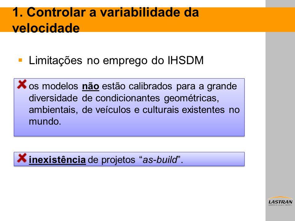 1. Controlar a variabilidade da velocidade  Limitações no emprego do IHSDM os modelos não estão calibrados para a grande diversidade de condicionante