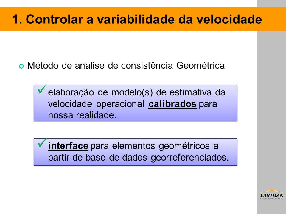 elaboração de modelo(s) de estimativa da velocidade operacional calibrados para nossa realidade. interface para elementos geométricos a partir de base