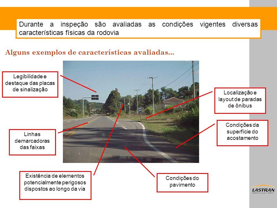 Durante a inspeção são avaliadas as condições vigentes diversas características físicas da rodovia Condições da superfície do acostamento Localização