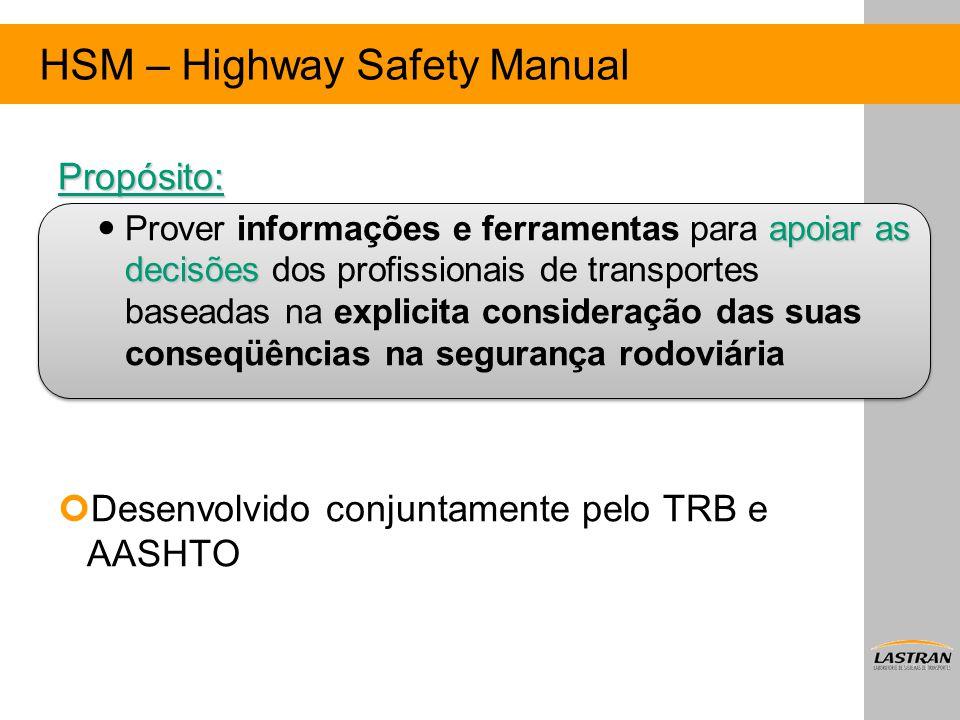 HSM – Highway Safety Manual Propósito: apoiar as decisões Prover informações e ferramentas para apoiar as decisões dos profissionais de transportes ba