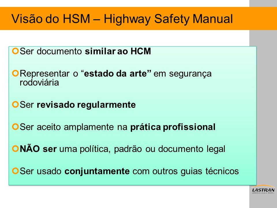 """Visão do HSM – Highway Safety Manual Ser documento similar ao HCM Representar o """"estado da arte"""" em segurança rodoviária Ser revisado regularmente Ser"""