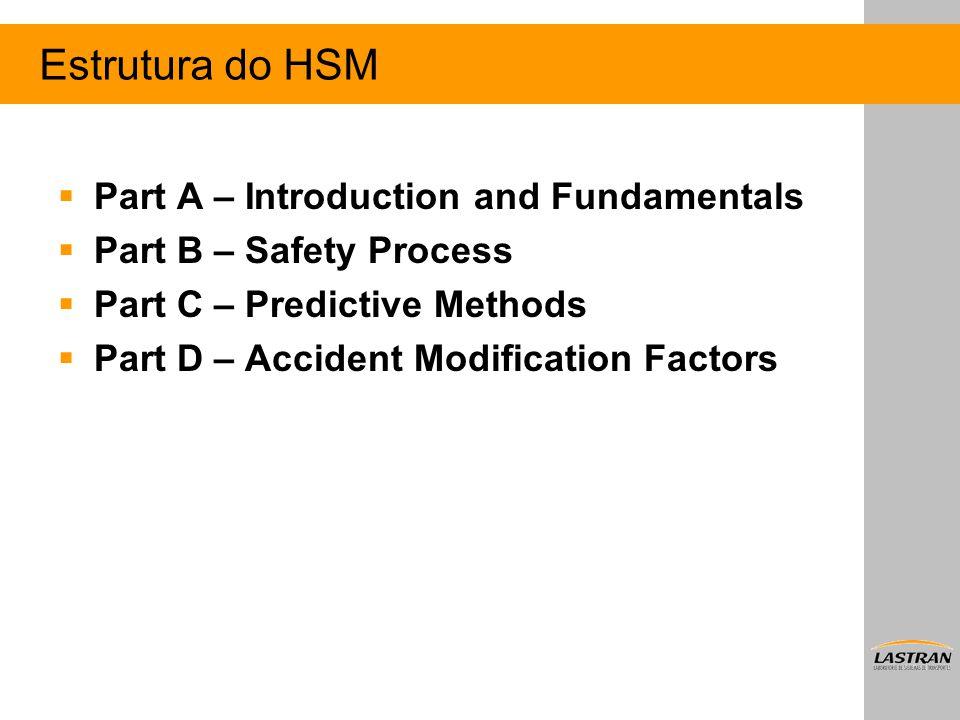 Estrutura do HSM  Part A – Introduction and Fundamentals  Part B – Safety Process  Part C – Predictive Methods  Part D – Accident Modification Fac