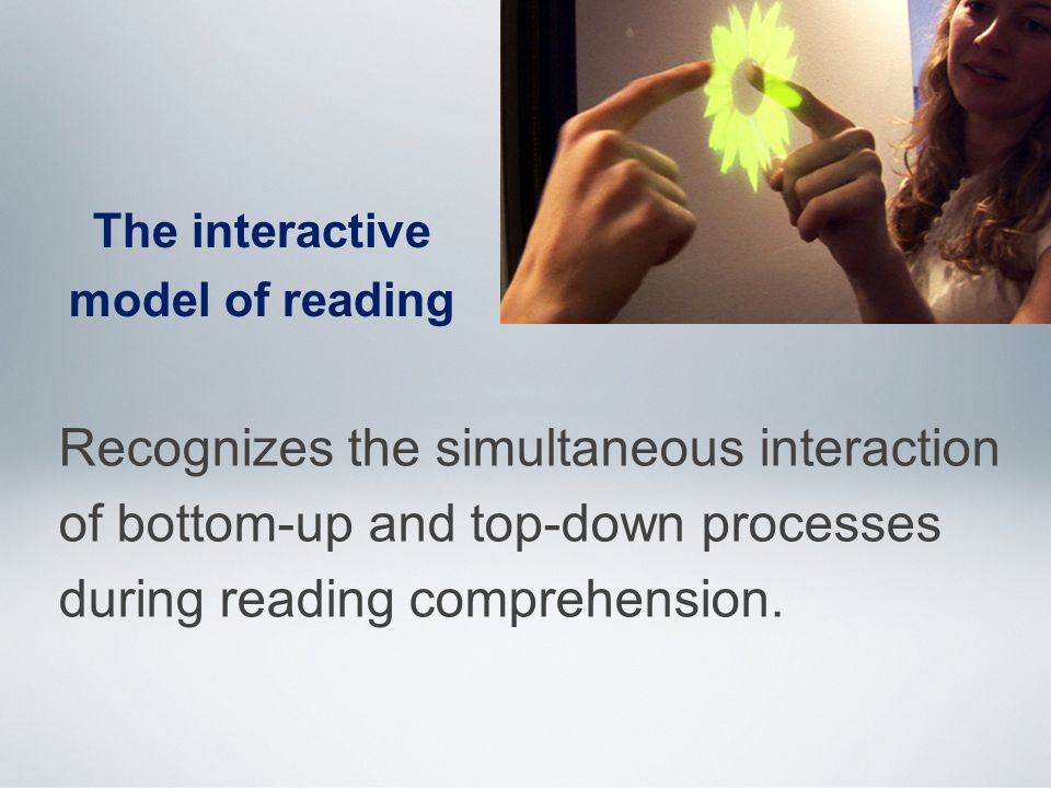 The interactive model of reading Recognizes the simultaneous interaction of bottom-up and top-down processes during reading comprehension.