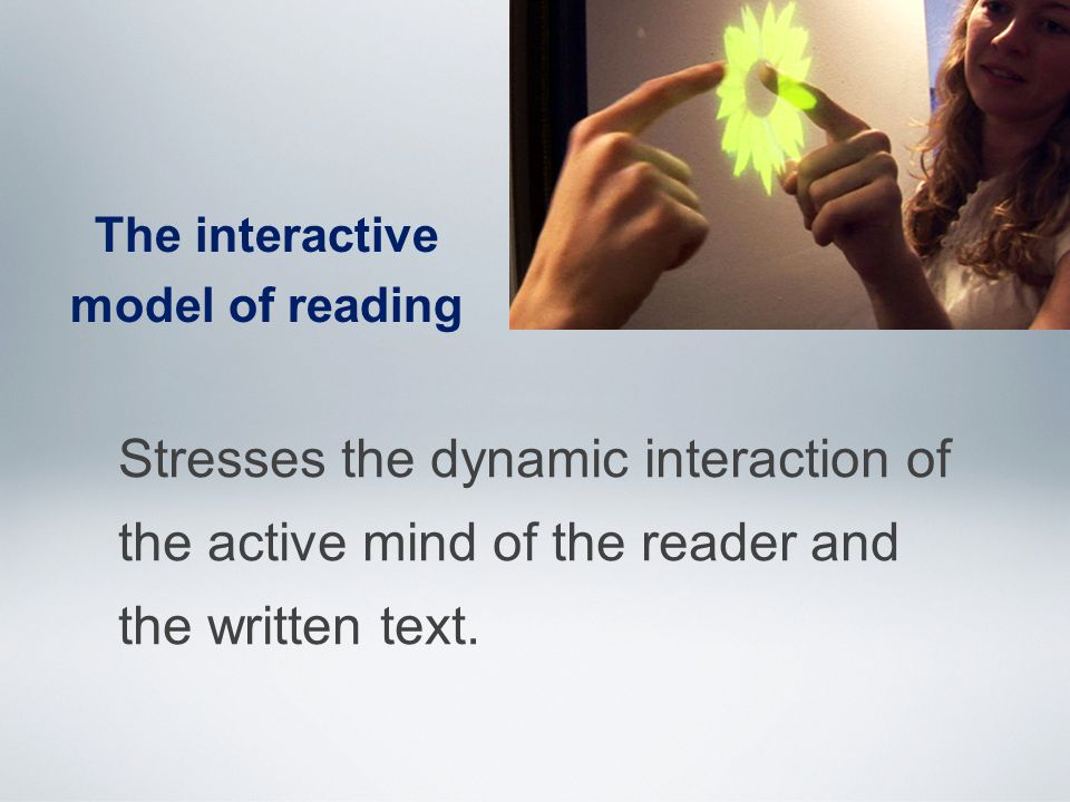 The interactive model of reading Stresses the dynamic interaction of the active mind of the reader and the written text.
