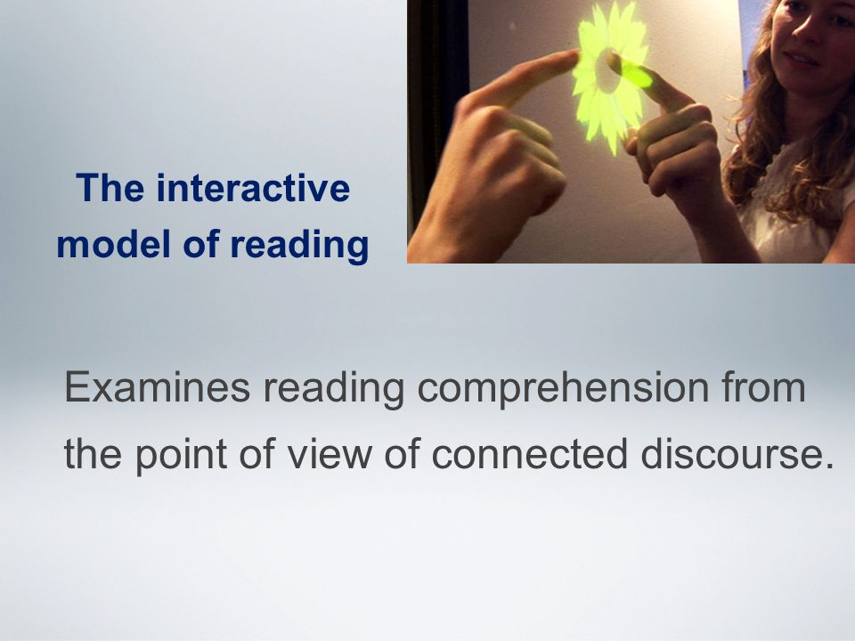 The interactive model of reading Examines reading comprehension from the point of view of connected discourse.