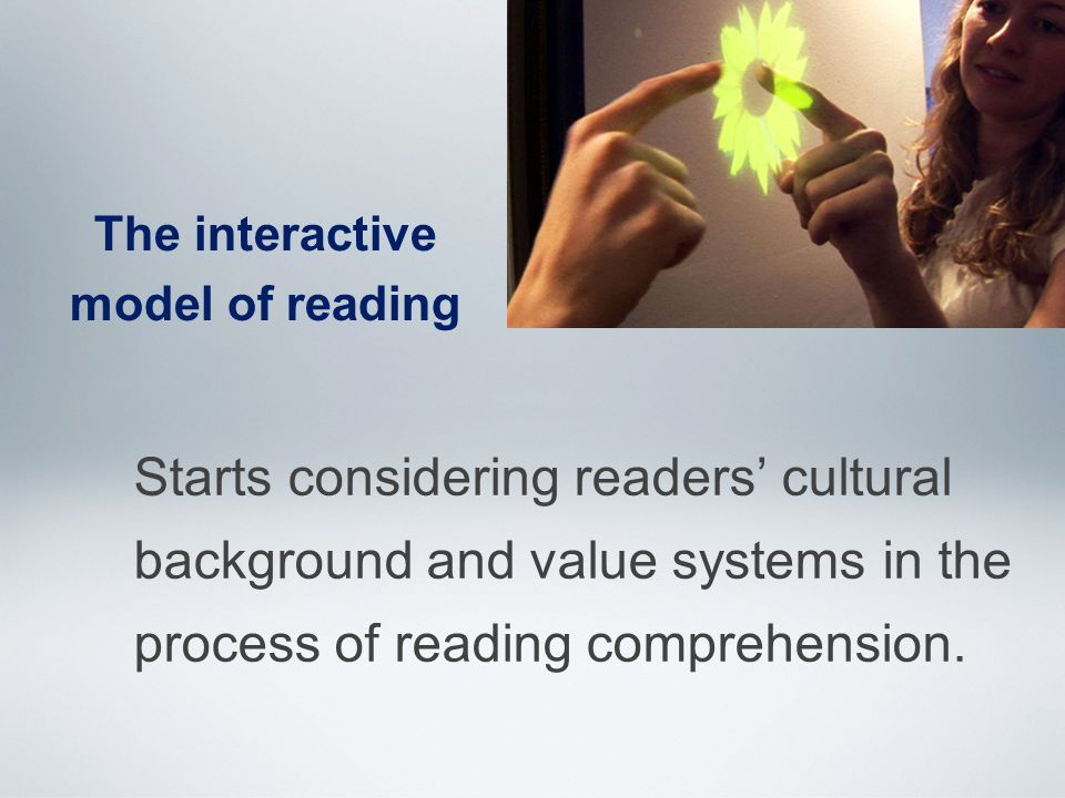 The interactive model of reading Starts considering readers' cultural background and value systems in the process of reading comprehension.