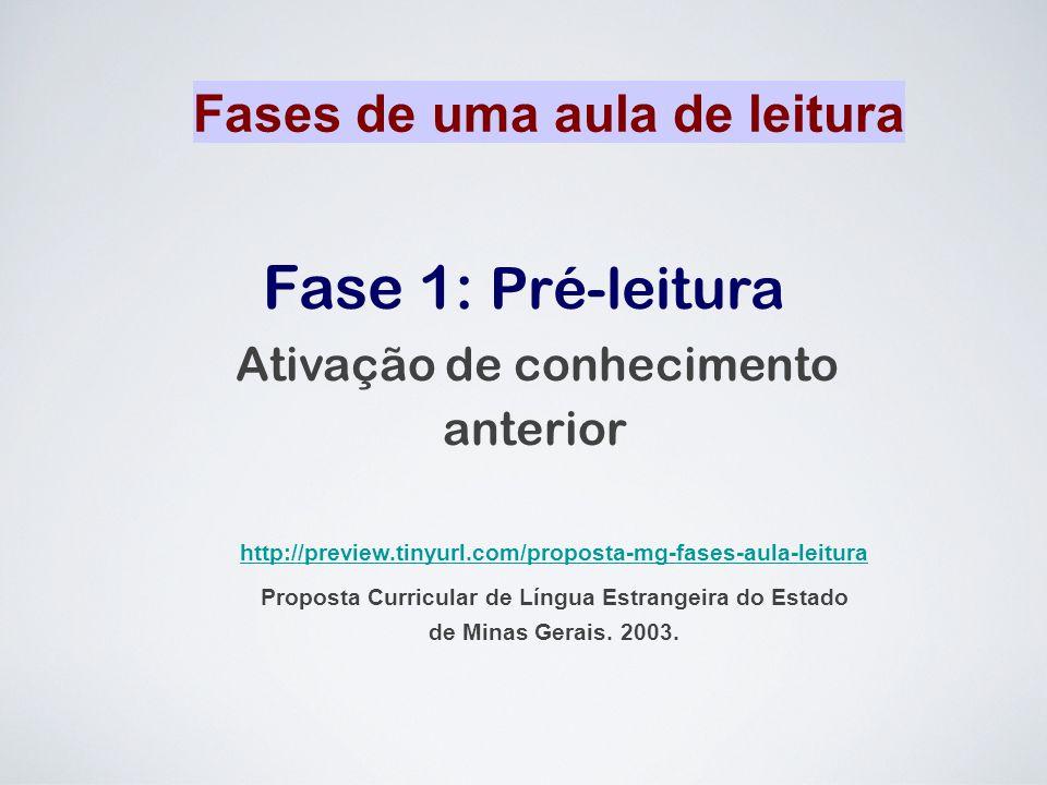 Fase 1: Pré-leitura Ativação de conhecimento anterior Fases de uma aula de leitura http://preview.tinyurl.com/proposta-mg-fases-aula-leitura Proposta
