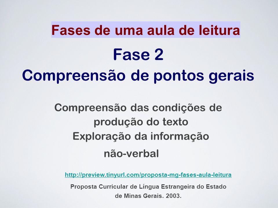 Fase 2 Compreensão de pontos gerais Compreensão das condições de produção do texto Exploração da informação não-verbal Fases de uma aula de leitura ht
