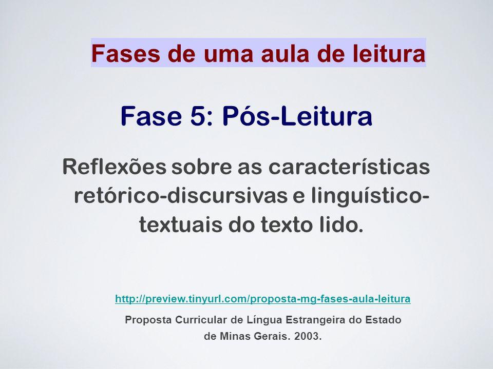 Fase 5: Pós-Leitura Reflexões sobre as características retórico-discursivas e linguístico- textuais do texto lido. Fases de uma aula de leitura http:/