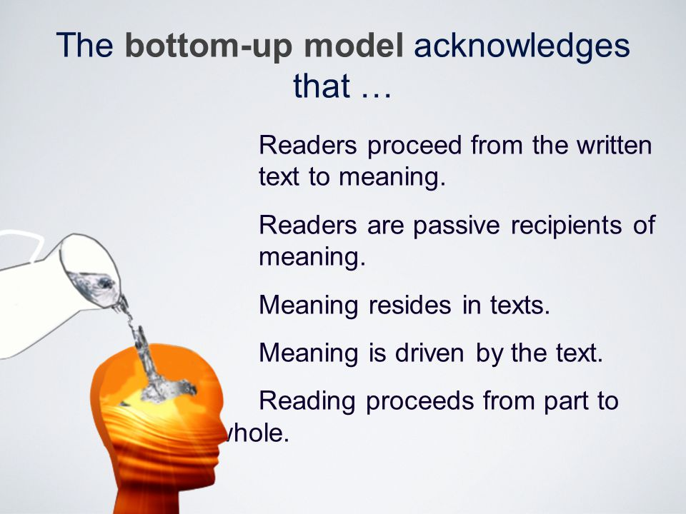 Readers read in a linear way through a step-by- step procedure which involves identification of letters, recognition of spelling patterns and words, and the processing of meaning from the sentence level to the paragraph level and then to the text itself.