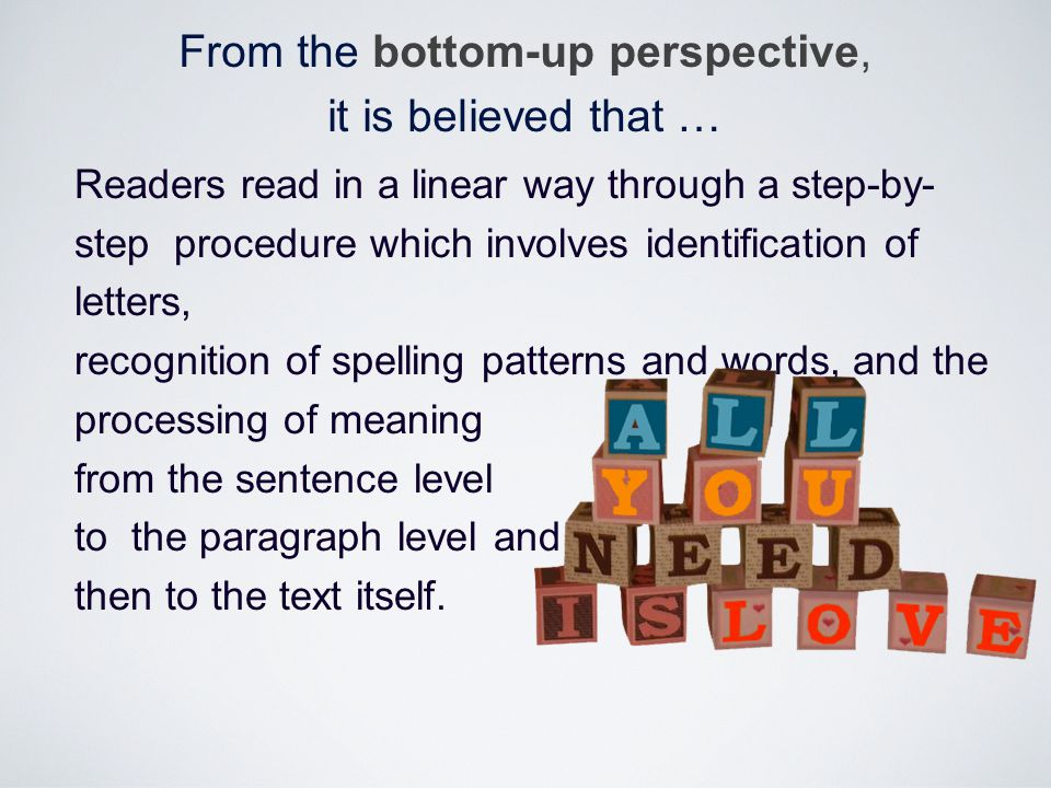 Readers read in a linear way through a step-by- step procedure which involves identification of letters, recognition of spelling patterns and words, a