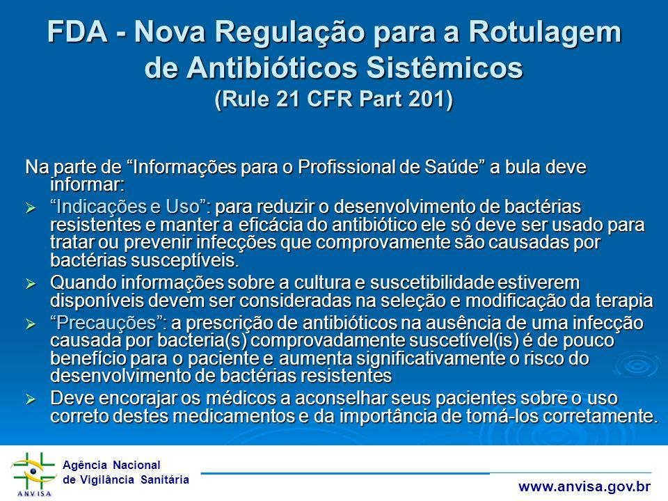 Agência Nacional de Vigilância Sanitária www.anvisa.gov.br FDA - Nova Regulação para a Rotulagem de Antibióticos Sistêmicos (Rule 21 CFR Part 201) Na