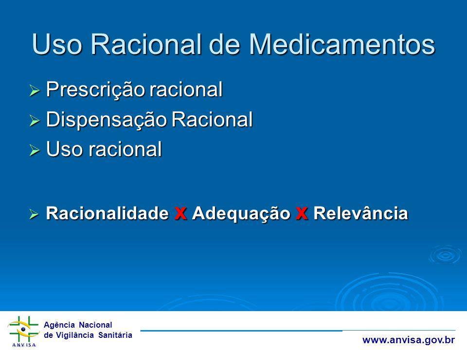 Agência Nacional de Vigilância Sanitária www.anvisa.gov.br Uso Racional de Medicamentos  Prescrição racional  Dispensação Racional  Uso racional 