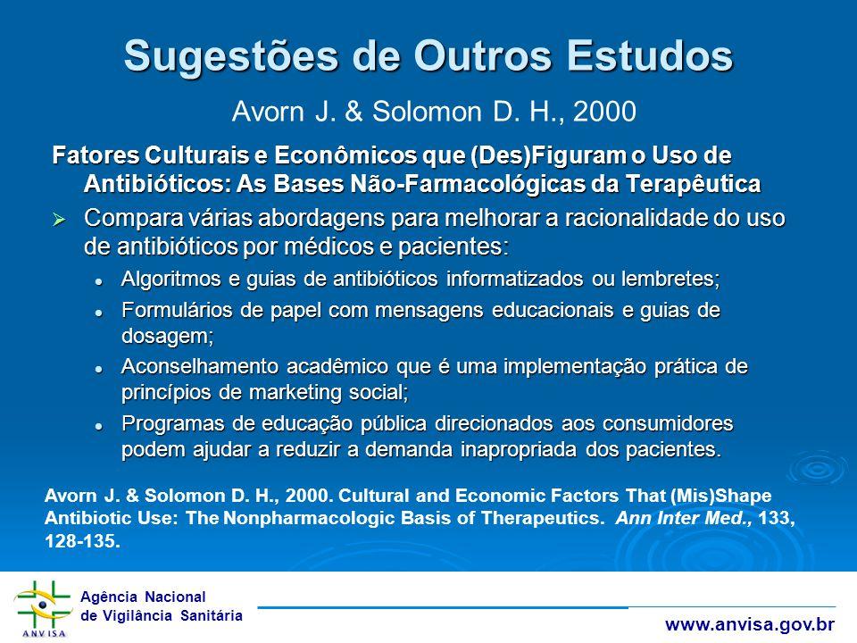 Agência Nacional de Vigilância Sanitária www.anvisa.gov.br Sugestões de Outros Estudos Sugestões de Outros Estudos Avorn J. & Solomon D. H., 2000 Fato