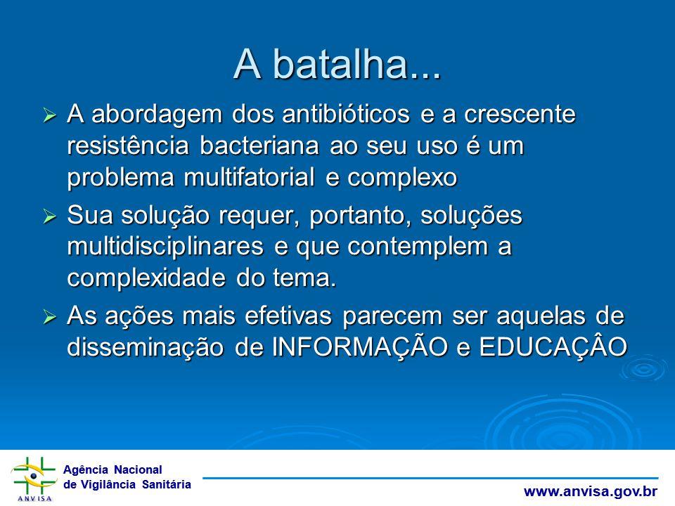 Agência Nacional de Vigilância Sanitária www.anvisa.gov.br A batalha...  A abordagem dos antibióticos e a crescente resistência bacteriana ao seu uso