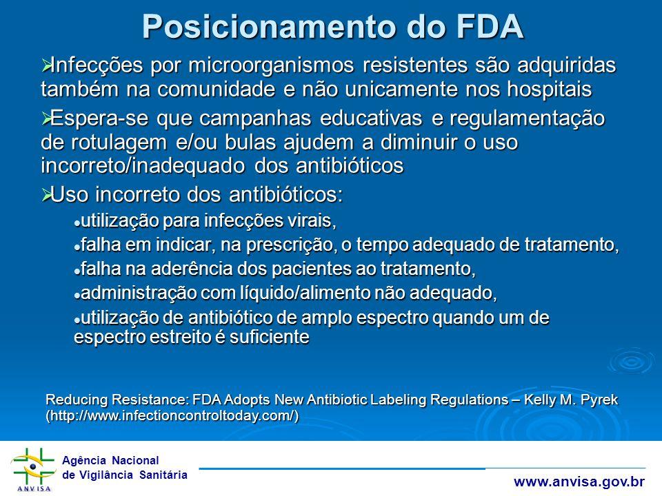 Agência Nacional de Vigilância Sanitária www.anvisa.gov.br Posicionamento do FDA  Infecções por microorganismos resistentes são adquiridas também na
