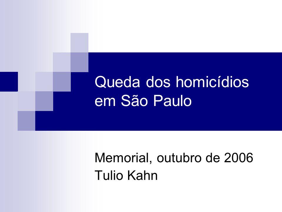 Queda dos homicídios em São Paulo Memorial, outubro de 2006 Tulio Kahn