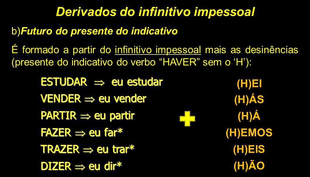 Derivados do infinitivo impessoal b)Futuro do presente do indicativo É formado a partir do infinitivo impessoal mais as desinências (presente do indic