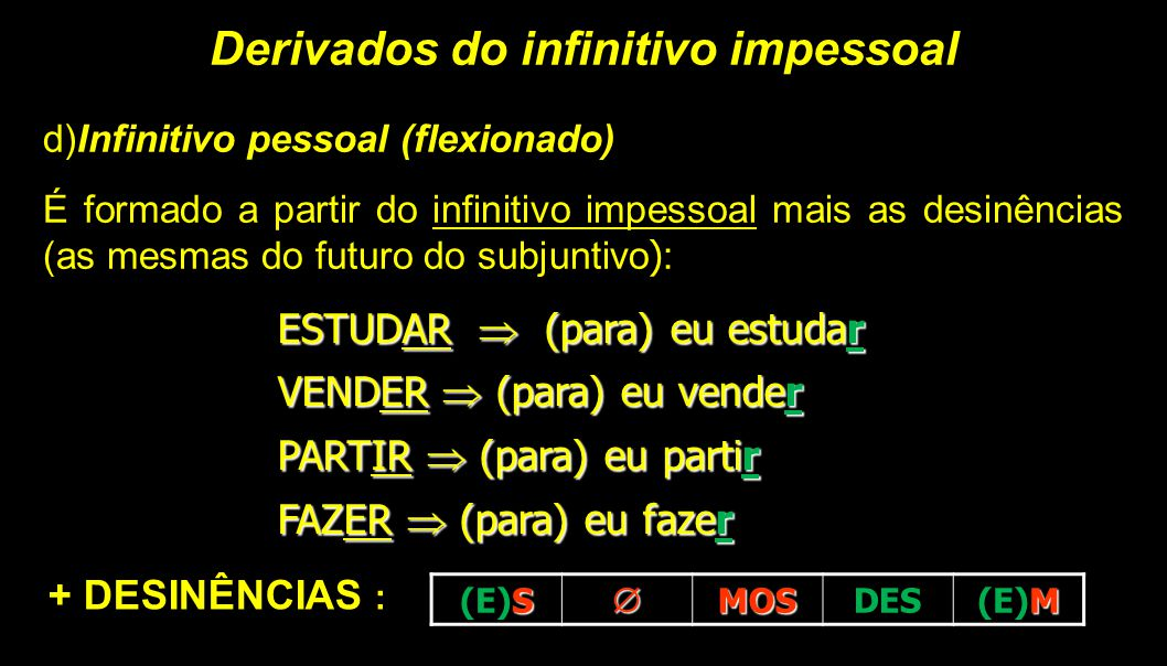 Derivados do infinitivo impessoal d)Infinitivo pessoal (flexionado) É formado a partir do infinitivo impessoal mais as desinências (as mesmas do futur