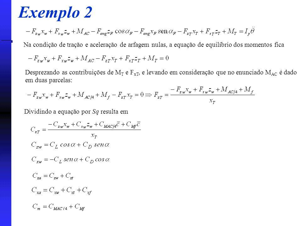 Na condição de tração e aceleração de arfagem nulas, a equação de equilíbrio dos momentos fica Desprezando as contribuições de M T e F xT, e levando e
