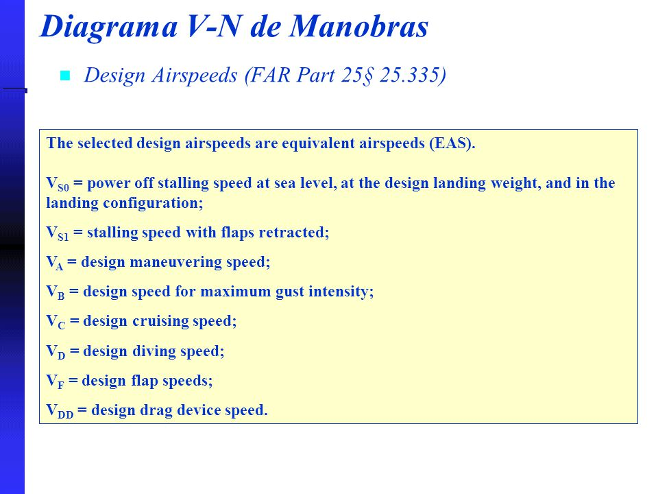 Diagrama V-N de Manobras Design Airspeeds (FAR Part 25§ 25.335) The selected design airspeeds are equivalent airspeeds (EAS). V S0 = power off stallin