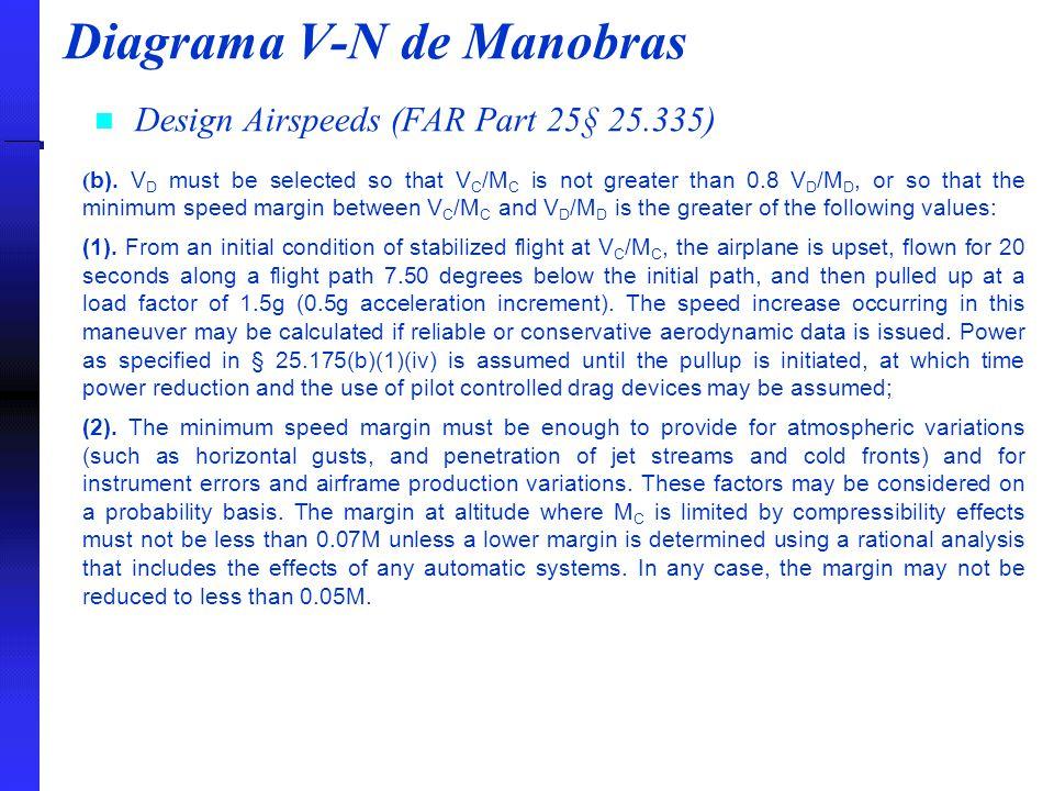 Diagrama V-N de Manobras Design Airspeeds (FAR Part 25§ 25.335) ( b). V D must be selected so that V C /M C is not greater than 0.8 V D /M D, or so th