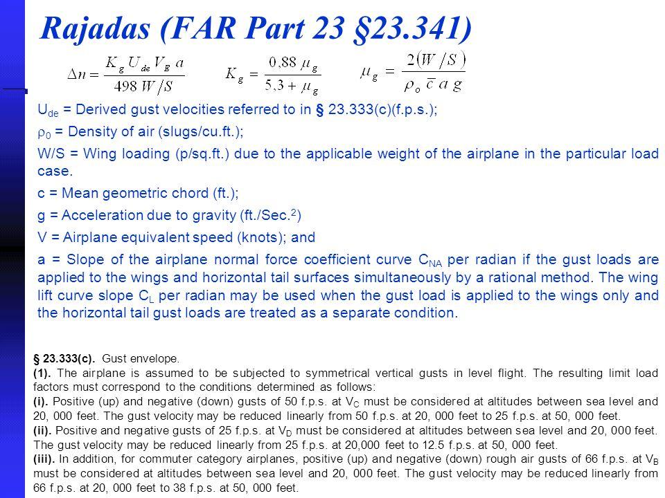 Rajadas (FAR Part 23 §23.341) U de = Derived gust velocities referred to in § 23.333(c)(f.p.s.);  0 = Density of air (slugs/cu.ft.); W/S = Wing loadi